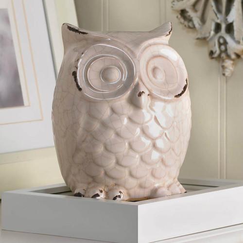 Crackle-Finish Ceramic Owl