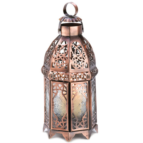Lacy Cutout Copper-Tone Candle Lantern - 9.5 inches