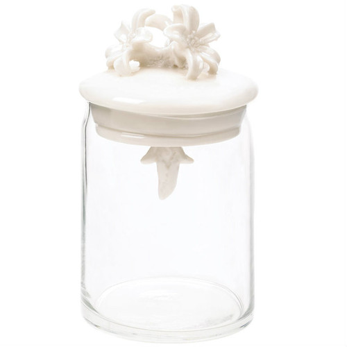 Glass Jar with Porcelain Flower Lid