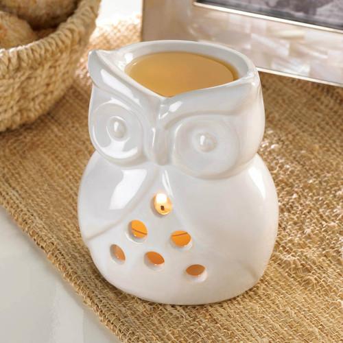 White Ceramic Owl Oil Warmer