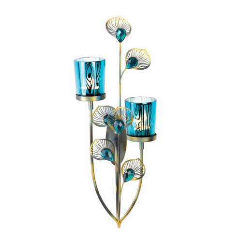 Peacock Feathers Candle Wall Sconce
