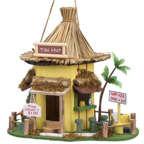 Tiki Hut Bar Thatched-Roof Bird House