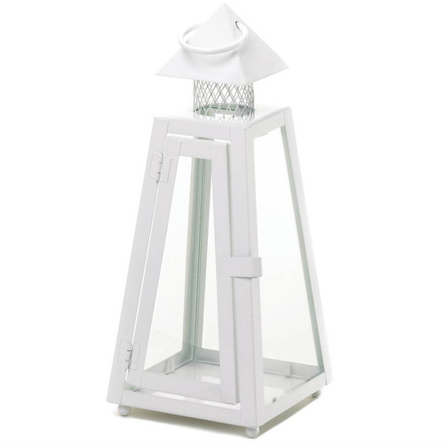 White Pyramid Candle Lantern - 11.5 inches