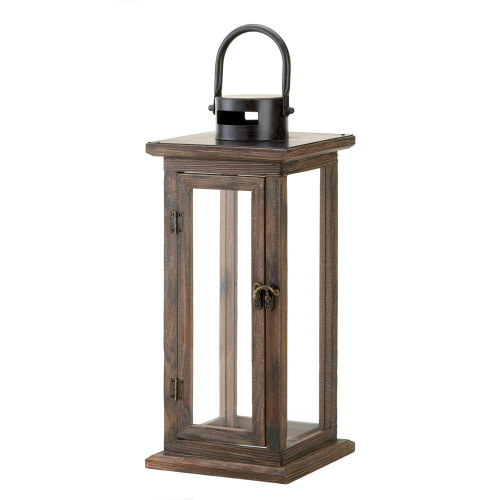 Rustic-Style Wood Candle Lantern - 16 inches