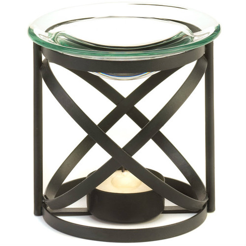 Black Matte Oil Warmer with Glass Dish