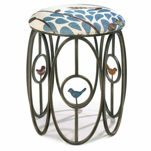 Metal Oval Frame Stool with Birds