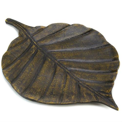 Antique-Look Metal Decorative Leaf Tray
