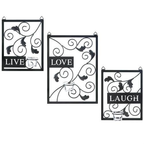 Live Laugh Love Candle Sconce Set