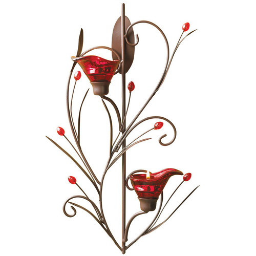 Red Calla Lily Wall Candle Holder