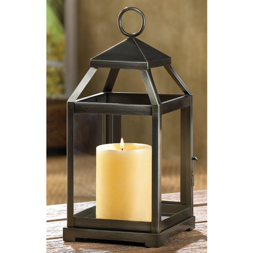 Brushed Silver Candle Lantern - 12 inches
