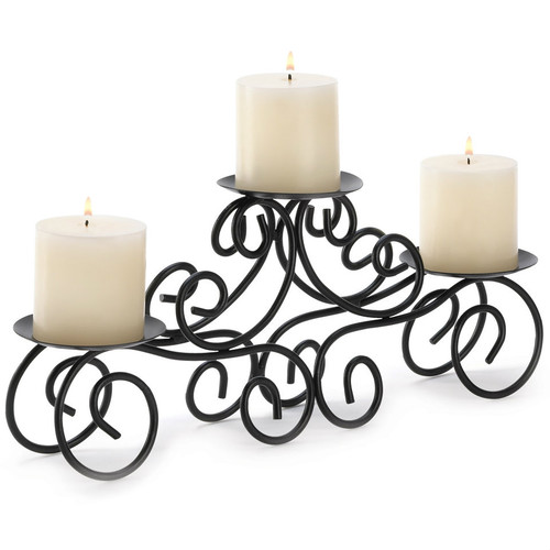 Wrought Iron Scroll Triple Candle Holder