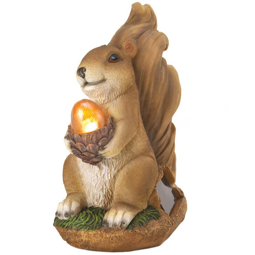 Solar-Powered Light-Up Squirrel Statue
