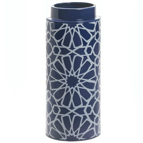 Blue Ceramic Geometric Pattern Cylinder Vase