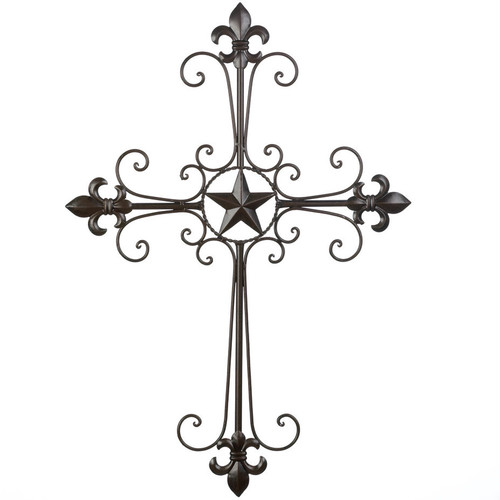 Wrought Iron Fleur de Lis Scrolled Wall Cross