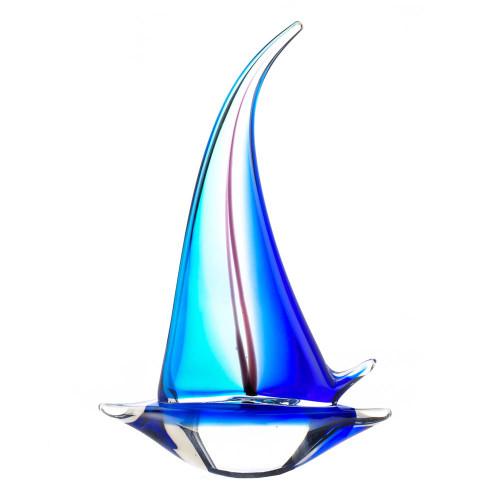Blue Sailboat Art Glass Sculpture