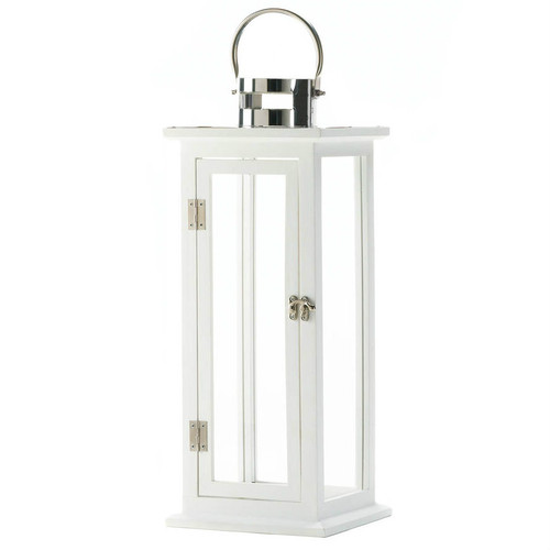White Wood Candle Lantern - 20.5 inches