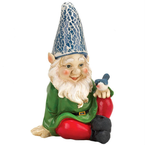 Gnome with Bird Solar Garden Statue