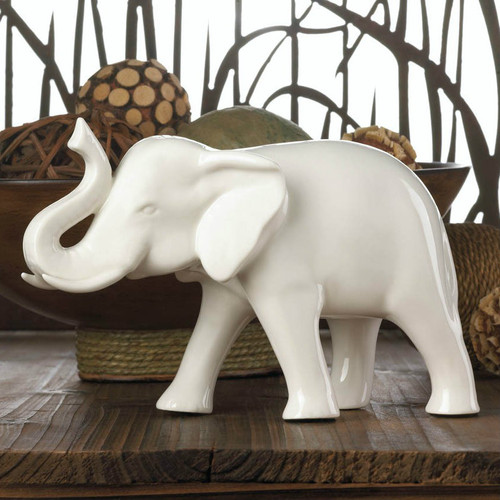 White Ceramic Elephant - 4.75 inches
