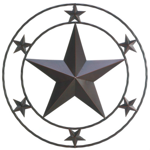 Round Texas Star Metal Wall Decor