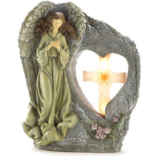 Angel with Cross Stone-Look Solar Garden Light