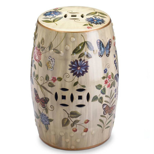 Butterflies and Flowers Ceramic Stool