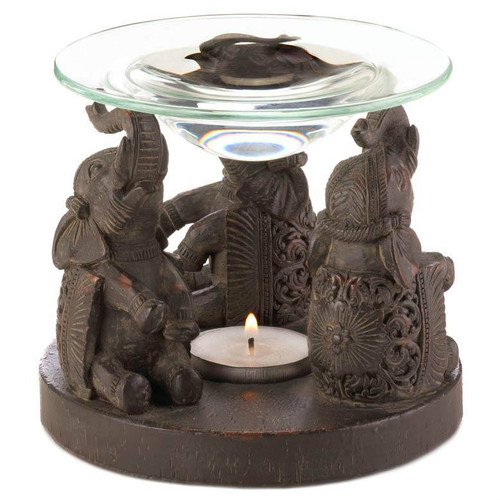 Carved-Look Three Elephants Oil Warmer