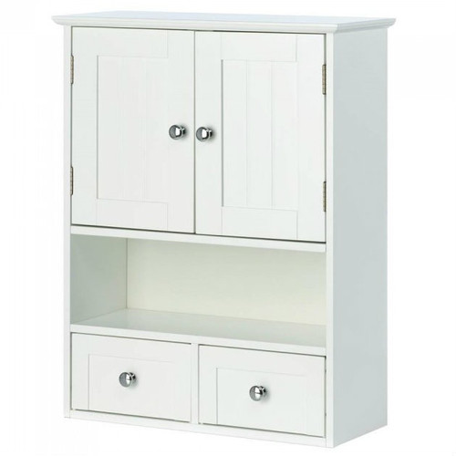 Wall-Mounted White Storage Cabinet