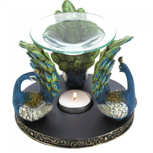 Peacock Trio Oil Warmer
