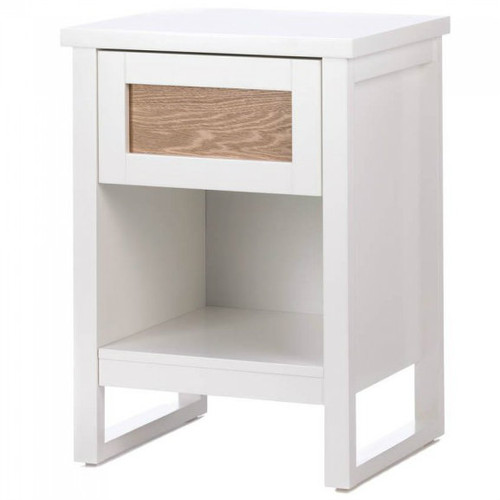 Wood Front White Side Table