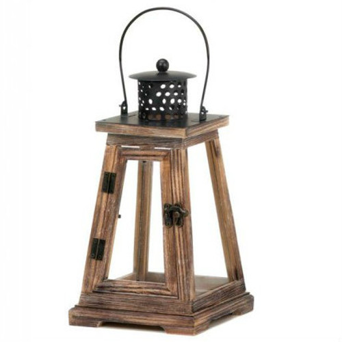 Rustic Wood Pyramid Candle Lantern - 12 inches