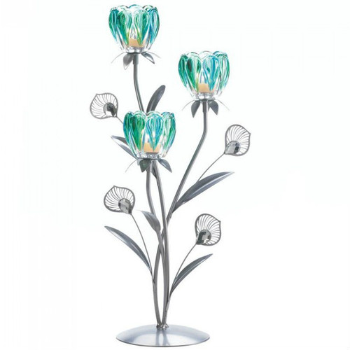 Peacock Bloom Candle Holder - Triple