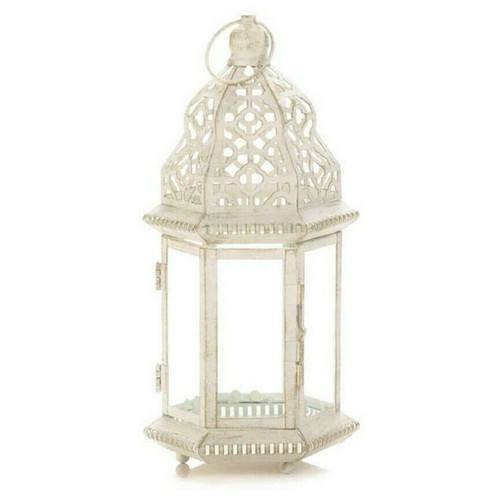Vintage-Look White Candle Lantern - 12 inches