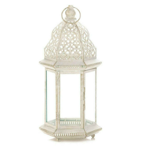Vintage-Look White Candle Lantern - 16 inches