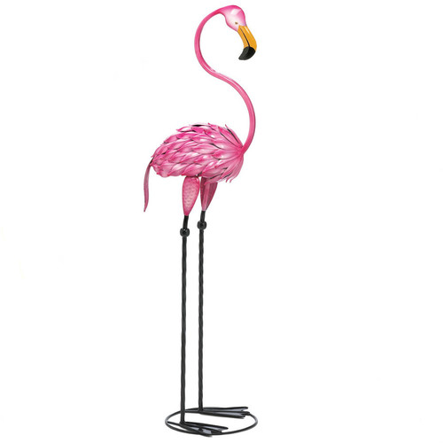 Metal 3-Foot Flamingo Yard Art