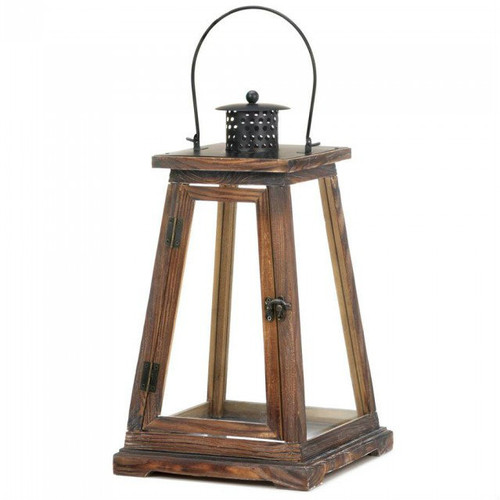 Pyramid Style Wood Candle Lantern - 17 inches