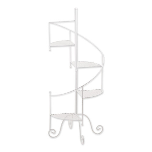 Iron Spiral Staircase Plant Stand - White