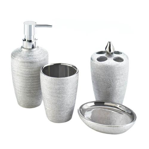 Shimmery Silver Bath Accessory Set