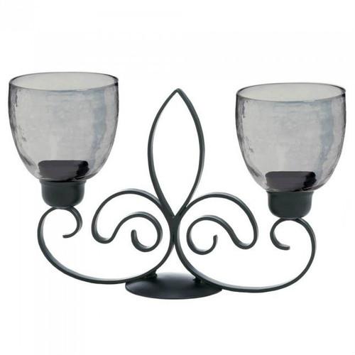 Fleur de Lis Metal Double Candle Stand