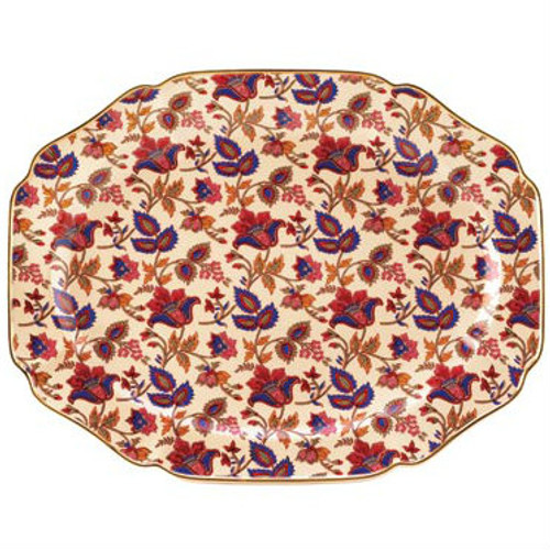 Gold-Rimmed Indian Style Serving Platter