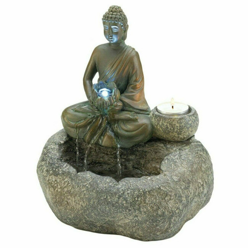 Light-Up Buddha Fountain with Candle Holder