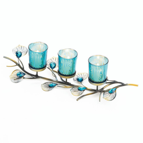 Peacock-Inspired Branch Candle Holder