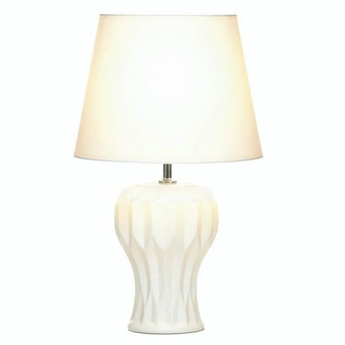 White Ceramic Table Lamp - Abstract Curves