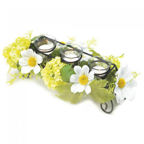 Daisy Faux Floral Candle Holder Centerpiece