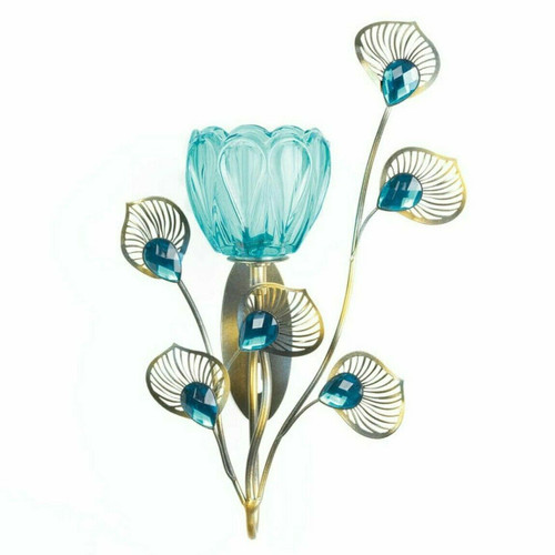 Peacock Bloom Candle Sconce - Single