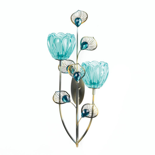 Peacock Bloom Candle Sconce - Double
