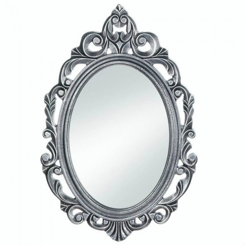 Silver Royal Crown Wood Wall Mirror