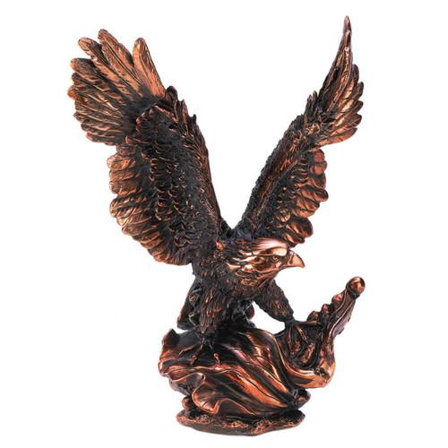 Bronze-Look Eagle in Flight Statue