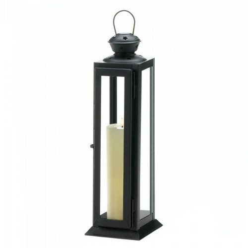 Sleek Candle Lantern with Star Cutouts - 12 inches