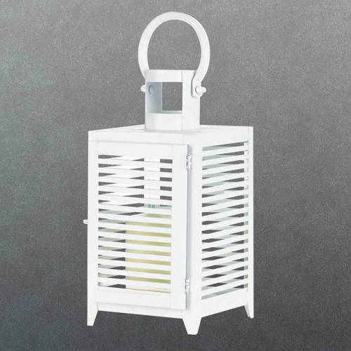 White Slatted Candle Lantern - 12 inches