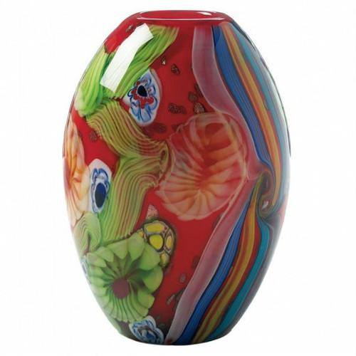 Red Freeform Floral Art Glass Vase